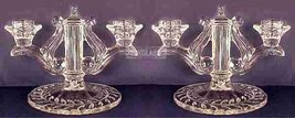 Indiana Glass Laurel Double Candlesticks Two Light PAIR - $42.00