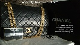 CLASSIC CHANEL Black Quilted Lambskin Reissue Gold Chain Medium Double F... - $1,700.00