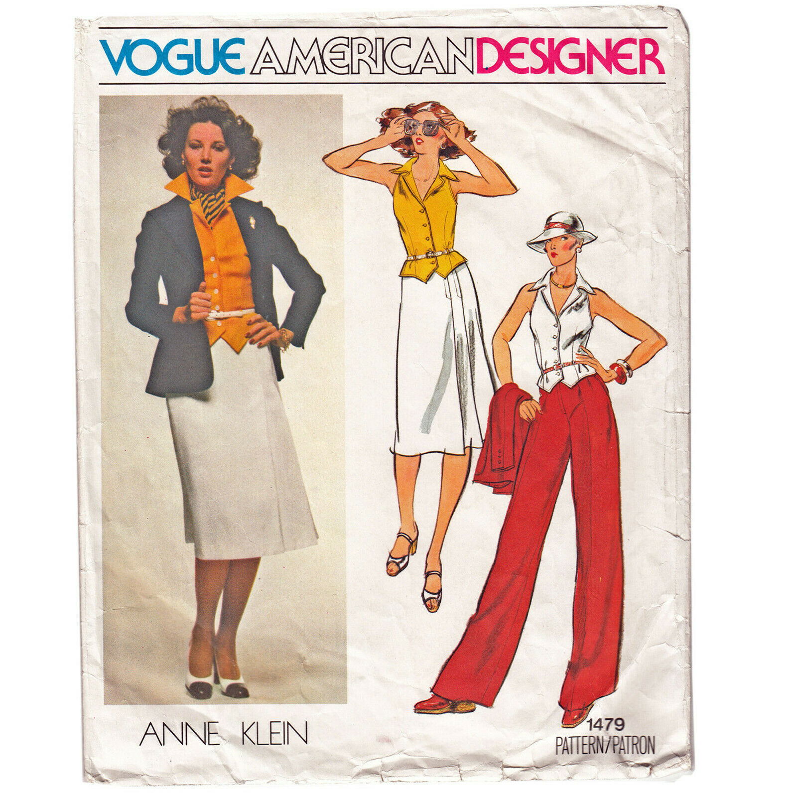 Designer JACKET - VEST - SKIRT - PANTS Anne Klein VTG Sz 10 VOGUE Sewing Pattern