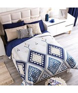 Blue and White Textured Reversible Novo Comforter Queen Size Soft and Warm - $67.91