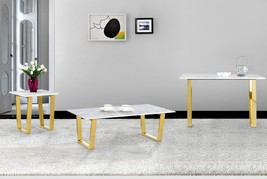 Meridian Furniture Cameron Modern Marble Tops Gold Steel Coffee Table Set 3 Pcs