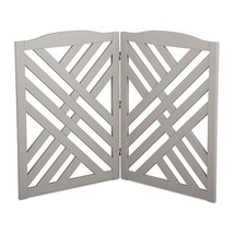 Solid Wood Gray Finish Lattice 2 Panel Freestanding Pet Gate Fence Barrier - $98.95
