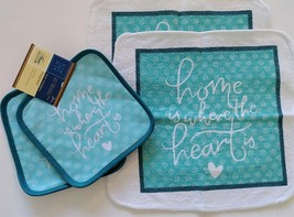 Sentiments Potholders Dish Towels Cloths 4pc Blue Green Home Is Where He... - $13.99