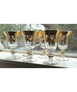 Set of SIX Interglass Italy Luxury Crystal Wine Goblets 24K Gold LOVELY - $225.00