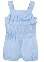 First Impressions Baby Girls' Chambray Ruffle Romper, Light Blue, Size 24 M, - $9.89