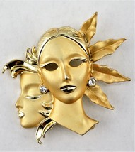 Pin of Art Deco Woman, Gold Tone with Rhinestone Brooch - $13.47