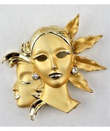 Pin of Art Deco Woman, Gold Tone with Rhinestone Brooch - $14.81