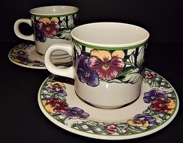 2 Gibson Purple Pansy Pansies & Green Lattice Cups and Saucers Floral Pattern - $24.74