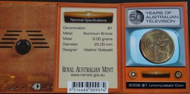AUSTRALIA $1 UNC COIN 50 YEARS AUSTRALIAN TELEVISION 2006 RAM MINT IN CO... - $18.49