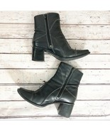 Clarks 31835 Black Leather Zip Ankle Boots - 7.5M - $33.94