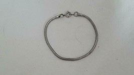 """Vintage 6""""ROPE Chain Empty Slide Charm Bracelet, Silvertone, 1/16""""THICK,UNSIGNED - $4.94"""