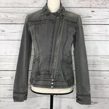 DKNY Womens Medium M Jean Jacket Motorcycle Gray Full-Zip Long Sleeve Po... - $32.64