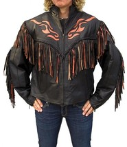 QASTAN Women's Western Black Orange Flame Fringe Leather Jacket WWJ01 - $177.21+