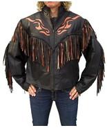 QASTAN Women's Western Black Orange Flame Fringe Leather JacketWWJ01 - $177.21+