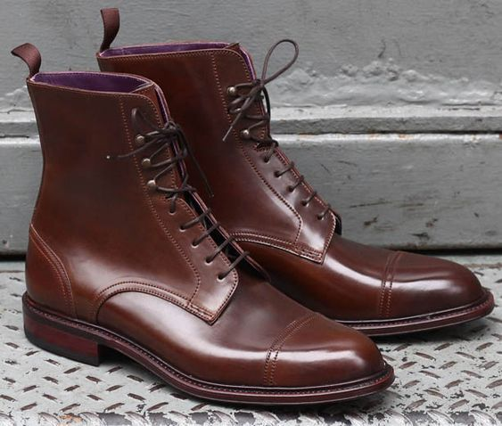 Handmade Men Brown color Leather Ankle boots, New Men leather lace up boots