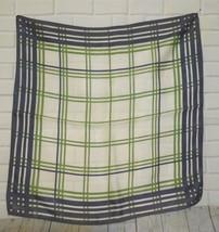 "Vintage Vera Purple Green White  Plaid  Square Scarf 22""x22"" - $16.67"