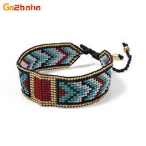 Go2boho Ethnic Geometric Patterns Bracelets Women Boho Seed Beads Cuff B... - $15.14