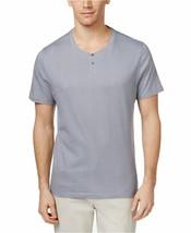 New Men's $30 Alfani Mini-Grid Cotton Henley Boulder T-Shirt Top Shirt S... - $11.65