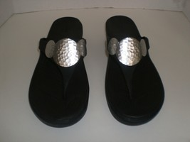 Crocs Mickey Mouse Sandals Flip Flops Size 10 Wedge Black/Silver - $19.79