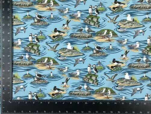 Seaside Birds Blue 100% Cotton High Quality Fabric Material 3 Sizes