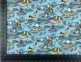 Seaside Birds Blue 100% Cotton High Quality Fabric Material 3 Sizes - $7.30+