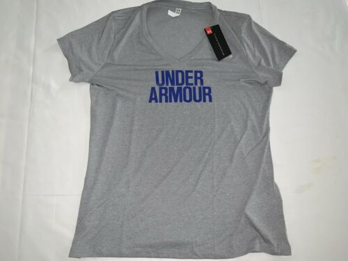 Primary image for Under Armour Women Threadborne Heat Gear Gray V-Neck T-Shirt L msrp  $32.99