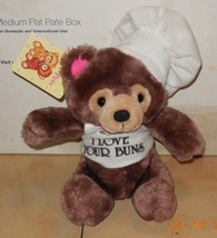 vintage Russ Berrie #768 I love Your Buns Teddy Bear Plush Chef Valentines - $32.73