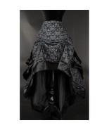 Gray Black Brocade Ruffle Trim Corset Back Long 3 Layer Victorian Goth S... - $65.51