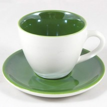 Starbucks Coffee 2005 Cup and Saucer White Green 3 oz - $19.79