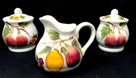 2 Maxcera Harvest Fruits 2 Sugar & 1 Creamer Set  Distressed Finish - $44.99