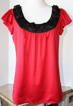Sunny Leigh Red Silky Top Blouse Black Rosette Satin Collar Petite PP Ma... - $11.87