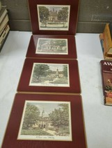 Set Of 4 Vintage Cork Backed Pimpernel Placemats of Colonial Williamsburg w/box - $29.70