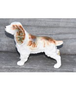 VINTAGE ANTIQUE SPANIEL DOG FIGURINE JAPAN  RED WHITE SPOTS HAND PAINTED... - $49.99