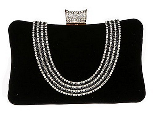 New Rhinestone Quilted Clutch Evening Bag Wedding Package 3--Black