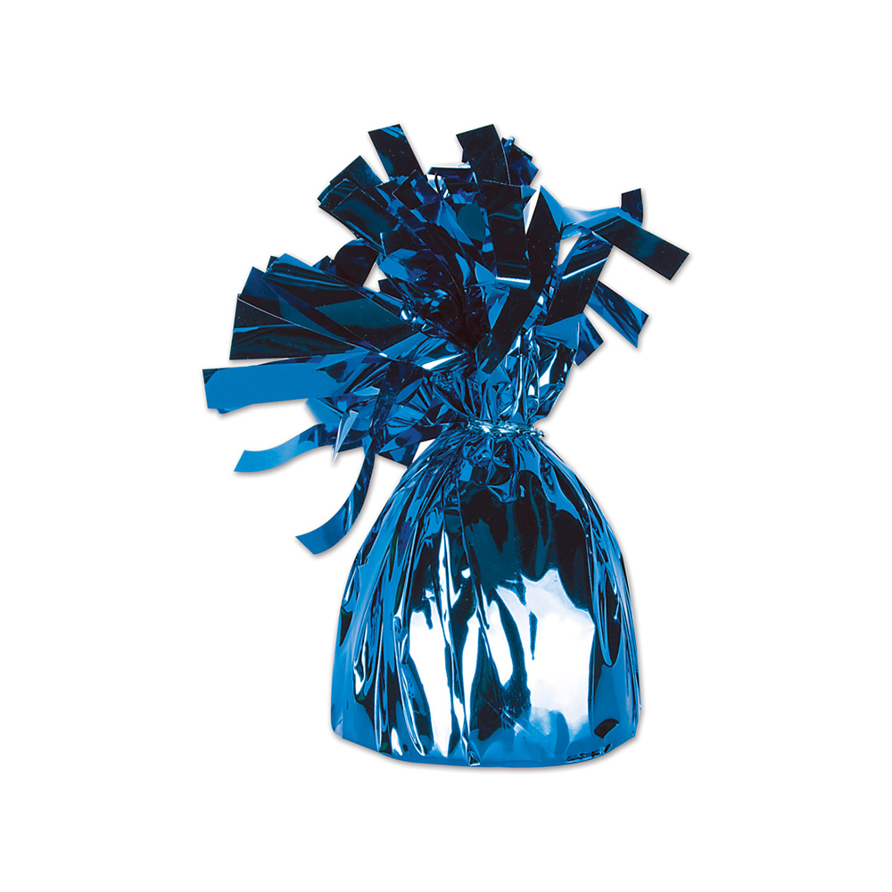 Metallic Wrapped Balloon Weight 6 Oz Blue - 12 Pack