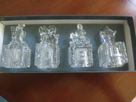 "Set of 4 LENOX Crystal HOLIDAY NOEL BLOCKS or STOPPERS - 1 1/4"" Sq. x 3""... - $11.88"