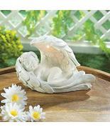 Angels Garden Decor Peaceful Sleeping Cherub with Solar Led Light Wing G... - $17.92