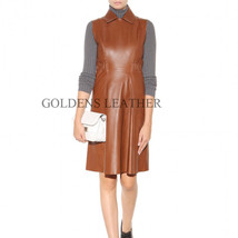 WOMEN LEATHER DRESS GENUINE LAMBSKIN PURE LEATHER SEXY COCKTAIL PARTY DRESS D45