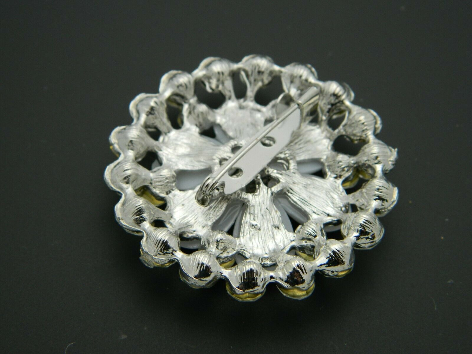 Clear Rhinestone Faux Pearl Vintage Style Flower Silver Tone Pin Brooch