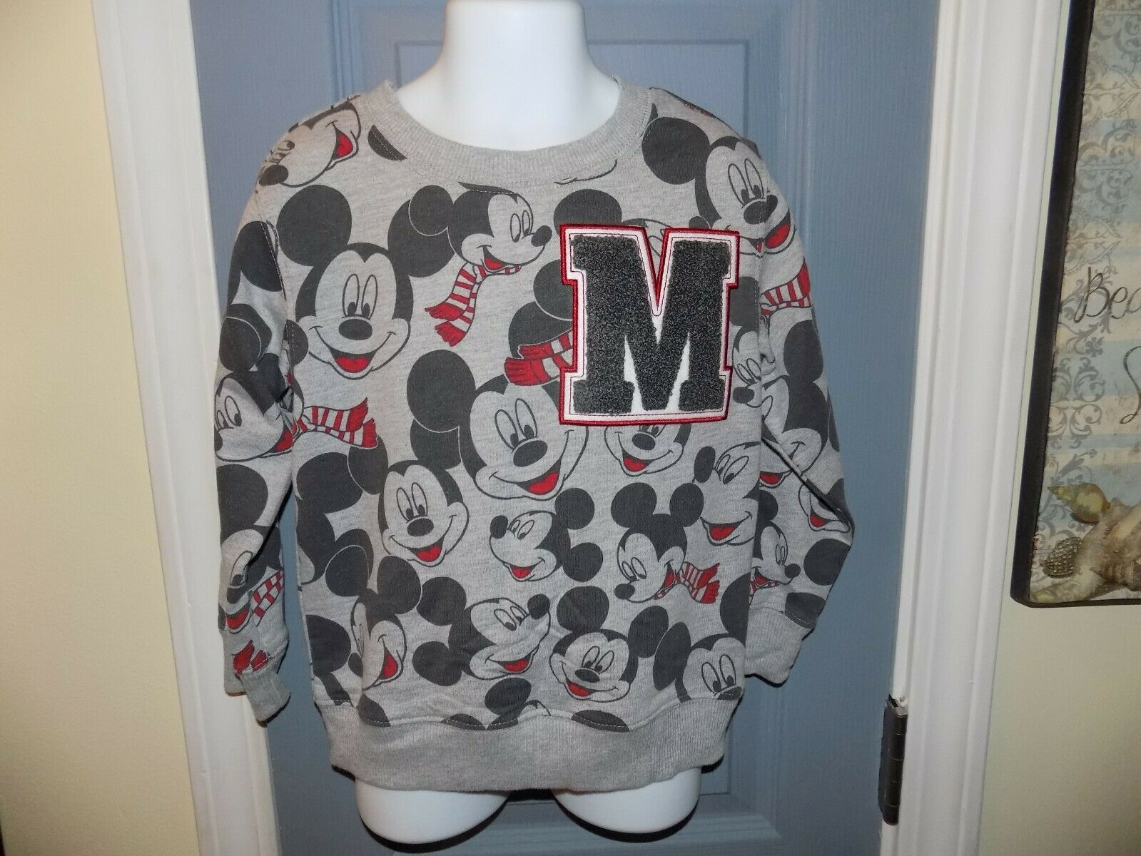 Primary image for Disney Mickey Mouse Faces Gray Long Sleeve Sweatshirt Size 4T Boy's NWOT