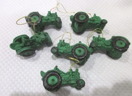"LOT SET OF (6) MINI GREEN TRACTOR CHRISTMAS ORNAMENTS 1.25"" - $11.99"