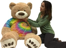 Big Plush Giant 5 Foot Teddy Bear Soft Ultra Premium Quality Wears Tie D... - $97.11