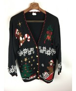 Holiday Time Ugly Christmas Sweater L Large Black Cardigan Teddy Bear Ca... - $39.59