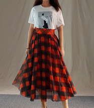 Womens Red Plaid Skirt Long Tulle Plaid Skirt - Red Check,High Waist, Plus Size image 11