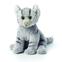 DEMDACO Grey Tabby Cat Children's Plush Beanbag Stuffed Animal Toy - $18.21
