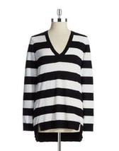Michael Kors Over-sized Striped V-neck Hi/Low White & Navy Sweater ( Large ) Nwt - $45.82