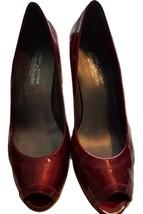 Stuart Weitzman Russell & Bromley Mujer Charol Rojo Zapatos Peep Toe US 8,5 UK 6 - $87.73