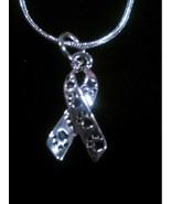 Animal Awareness Paw Print Ribbon Pendant on 925 Sterling Snake Necklace - $8.99
