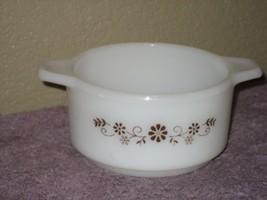 Milky White Dynaware Pyrex Brown Daisy Casserole Dish Pyr-O-Rey #39 - $9.46
