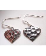 Hammered Heart Love Earrings 925 Sterling Silver Dangle Corona Sun Jewelry - $11.87